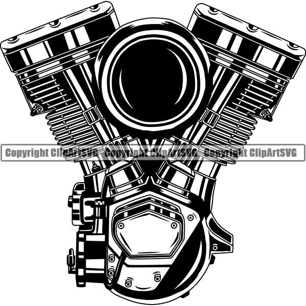 Motorcycle Bike Chopper Engine ClipArt SVG