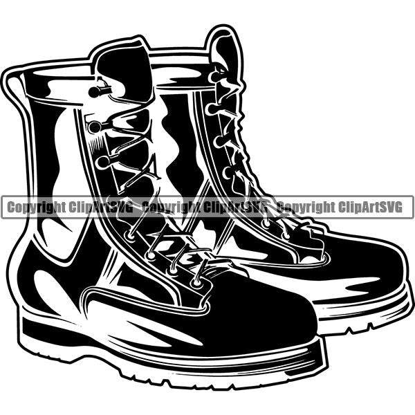 Military Weapon Soldier Army Boots ClipArt SVG