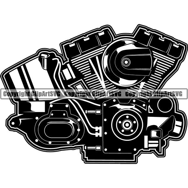 Motorcycle Bike Chopper Engine 2 Stroke ClipArt SVG