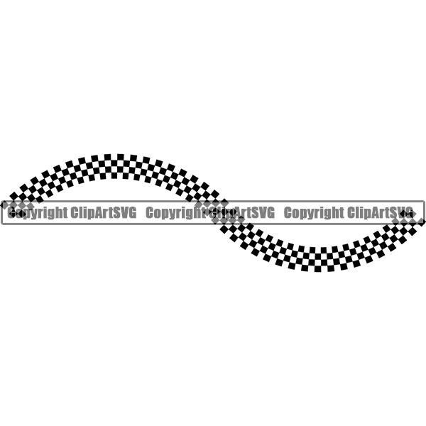 Sports Car Design Element Frame Border Checkerboard Straight Line Wavy ClipArt SVG