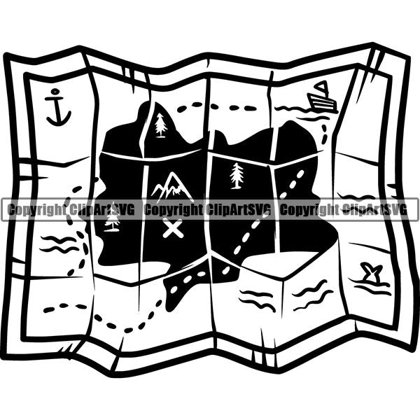 Pirate Sea Gangster Criminal Warrior Treasure Map ClipArt SVG