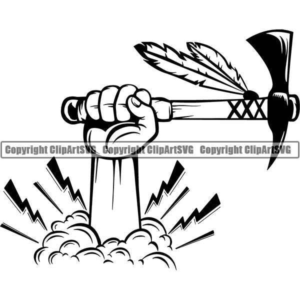 Native American Indian Axe ClipArt SVG