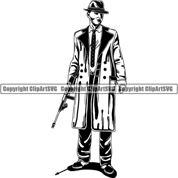 Gangster Thug Criminal Machine Gun Tommy Gun ClipArt SVG