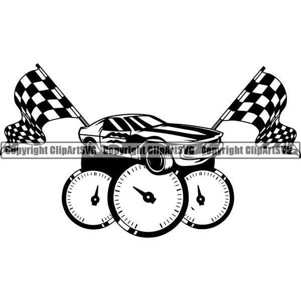 Sports Car Racing Logo ClipArt SVG
