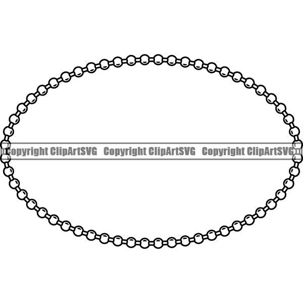 Military Weapon Soldier Dog Tag Chain White Oval ClipArt SVG