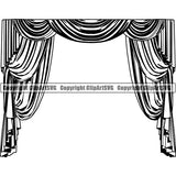Acting Actor Movie Performer Performance Act House Curtains ClipArt SVG