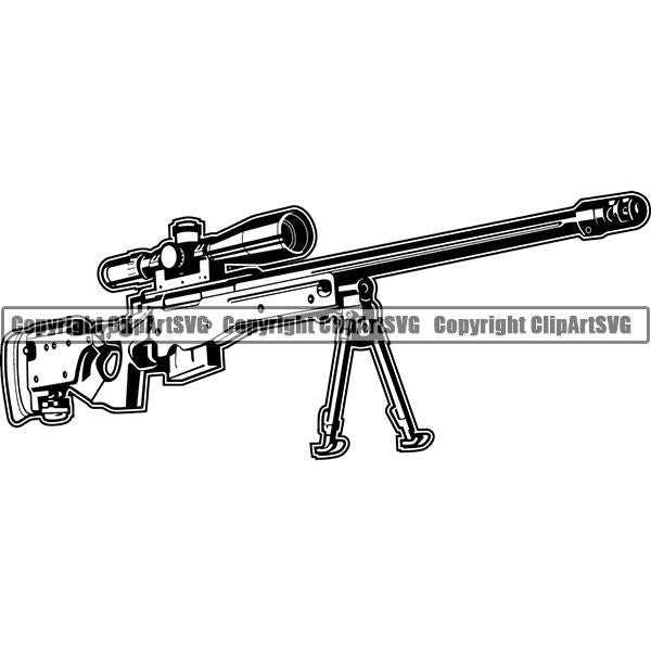 Military Weapon Gun Machine Rifle Sniper ClipArt SVG