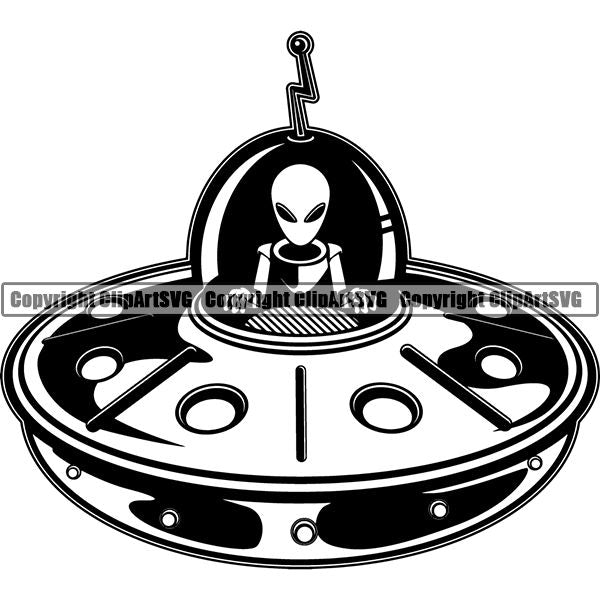 Astronaut Outer Space Shuttle Sci-Fi Science Fiction Alien Spaceship ClipArt SVG