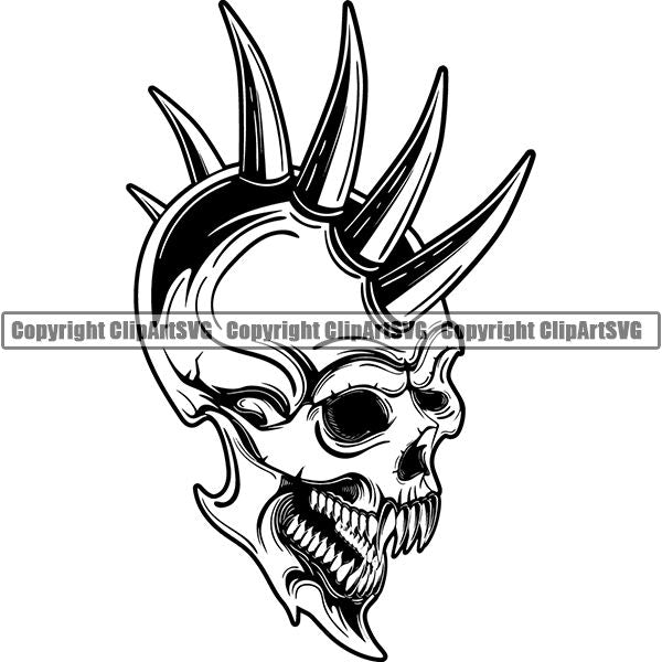 Skull Skeleton Tattoo Tat ClipArt SVG