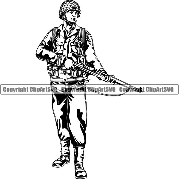 Military Weapon Soldier Vintage ClipArt SVG