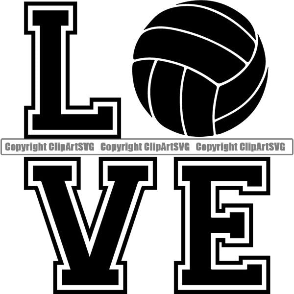 Sports Game Volleyball Love ClipArt SVG