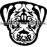Pit Bull Dog Breed Head Face ClipArt SVG 005