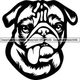 Pug Dog Breed Head Face ClipArt SVG 003