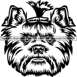 Yorkshire Terrier Dog Breed Head Face ClipArt SVG 010