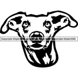 Whippet Dog Breed Head Face ClipArt SVG 001