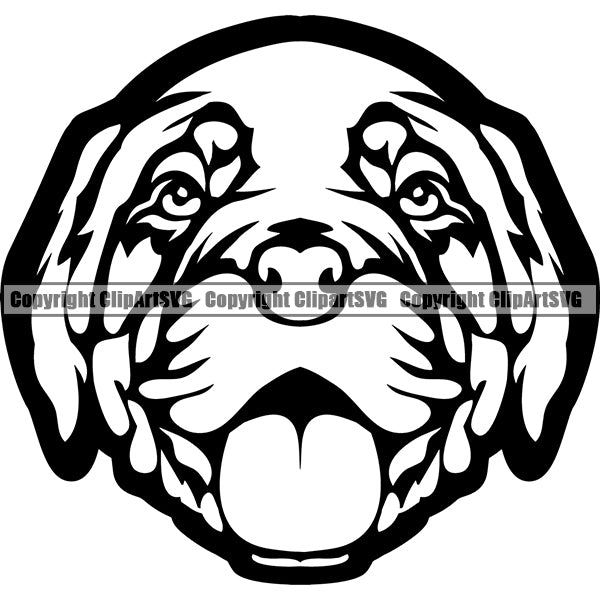 Animal Dog Dogue De Bordeaux Dog Breed Head Face ClipArt SVG 004