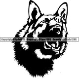 German Shepherd Dog Breed Head Face ClipArt SVG 020