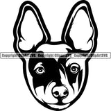 Rat Terrier Dog Breed Head Face ClipArt SVG 002