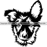 German Shepherd Dog Breed Head Face ClipArt SVG 008