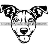 Jack Russell Terrier Dog Breed Head Face ClipArt SVG 003