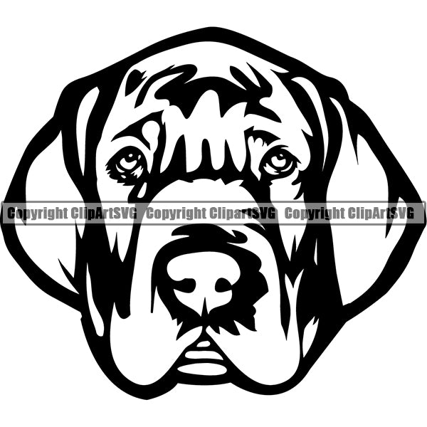Great Dane Dog Breed Head Face ClipArt SVG 011