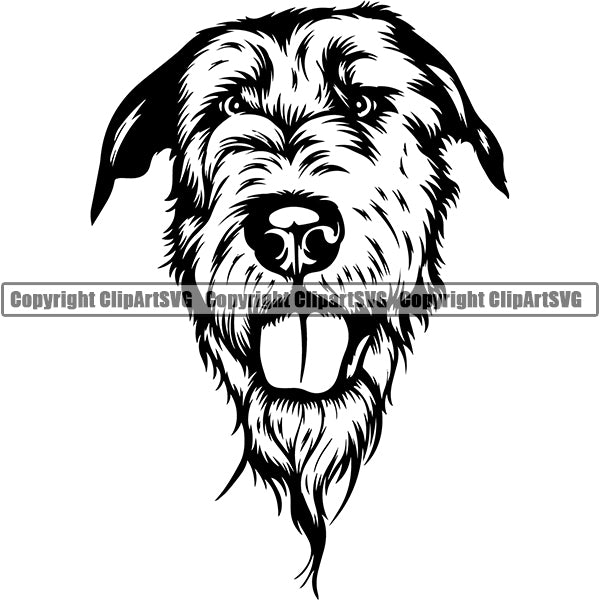 Irish Wolfhound Dog Breed Head Face ClipArt SVG 001
