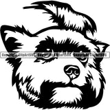 Yorkshire Terrier Dog Breed Head Face ClipArt SVG 001