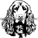 English Cocker Spaniel Dog Breed Head Face ClipArt SVG 001
