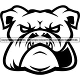 Animal Dog English Bulldog Dog Breed Head Face ClipArt SVG 003