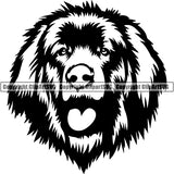 Leonberger Dog Breed Head Face ClipArt SVG 001