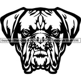 Animal Dog Dogue De Bordeaux Dog Breed Head Face ClipArt SVG 003