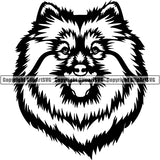 Spitz Dog Breed Head Face ClipArt SVG 001