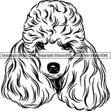 Poodle Dog Breed Head Face ClipArt SVG 004