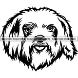 Maltese Dog Breed Head Face ClipArt SVG 005