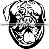 Animal Dog Dogue De Bordeaux Dog Breed Head Face ClipArt SVG 001