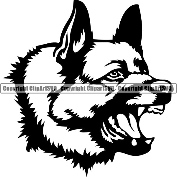 German Shepherd Dog Breed Head Face ClipArt SVG 021