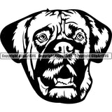 English Mastiff Dog Breed Head Face ClipArt SVG 001