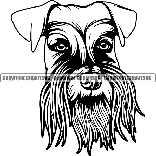 Schnauzer Dog Breed Head Face ClipArt SVG 001