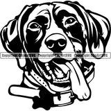 German Shorthaired Pointer Dog Breed Head Face ClipArt SVG 001