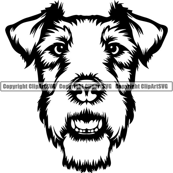 Fox Terrier Dog Breed Head Face ClipArt SVG 002