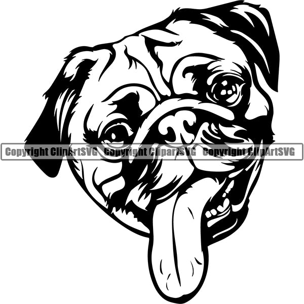 Pug Dog Breed Head Face ClipArt SVG 001