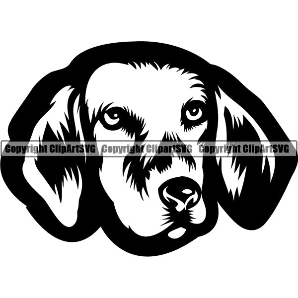 Harrier Dog Breed Head Face ClipArt SVG 001