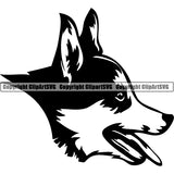 Pembroke Welsh Corgi Dog Breed Head Face ClipArt SVG 003