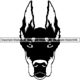 Animal Dog Doberman Dog Breed Head Face ClipArt SVG 002