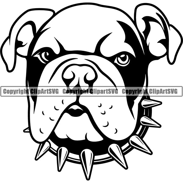 Animal Dog English Bulldog Dog Breed Head Face ClipArt SVG 009