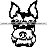 Schnauzer Dog Breed Head Face ClipArt SVG 004