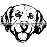 Golden Retriever Dog Breed Head Face ClipArt SVG 005