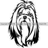 Shih Tzu Dog Breed Head Face ClipArt SVG 006