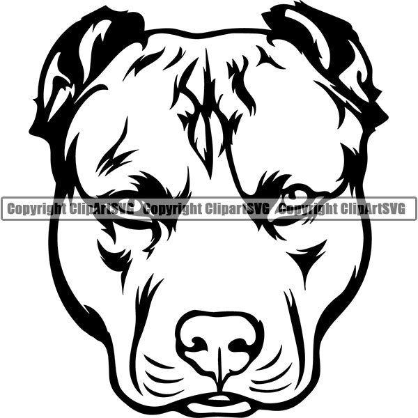 Pit Bull Dog Breed Head Face ClipArt SVG 022