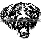 German Wirehaired Pointer Dog Breed Head Face ClipArt SVG 001
